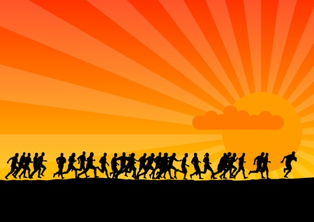 Black silhouettes of runners on the sunset Stock Vector - 9573415