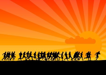 Siluetas negras de corredores en la puesta de sol