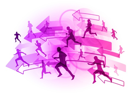 athlete on the purple arrows Stock Vector - 9622927