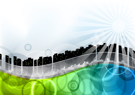 city on the abstract wave Stock Vector - 9622940