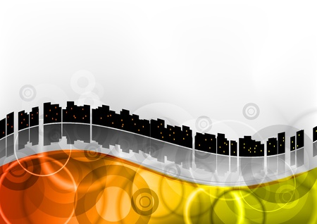 city on the abstract wave Stock Vector - 9622929