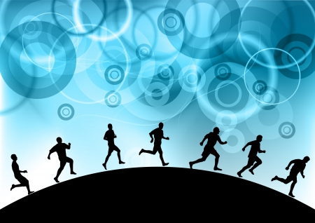 runners under the blue abstract sky Vector