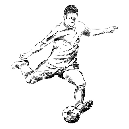 football player on the white Vector