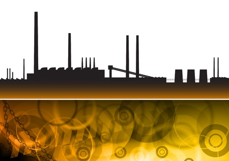 silhouette of factory on the fire ground Vector