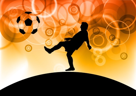 footbal player on the red background Vector