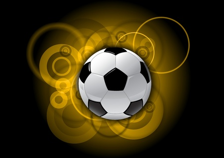 soccer ball on the gold background Vector