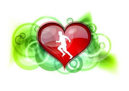 white runner on the red heart Vector