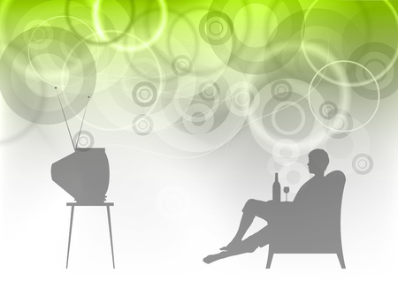 tv watching on the green abstract Vector