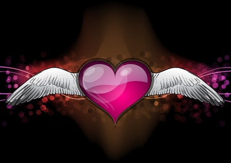 red heart on the dark background Vector
