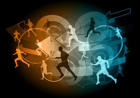 runners on the dark background