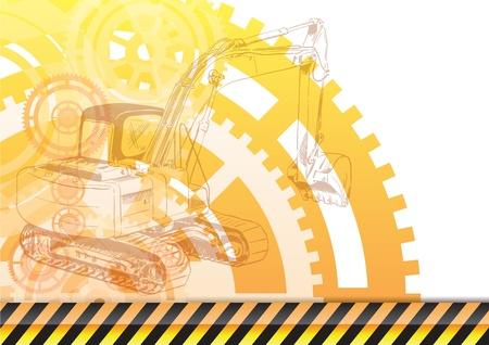 yellow tractor: Fondo de construcci�n con el cargador Vectores