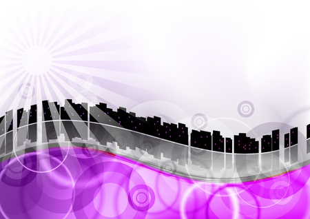city scape on the purple wave Stock Vector - 9663581
