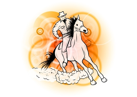 cowboy on the orange background Stock Vector - 9663580
