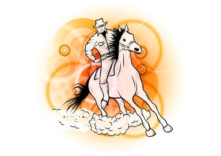cowboy op de oranje achtergrond