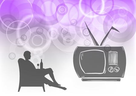 tv watching on the purple background Vector