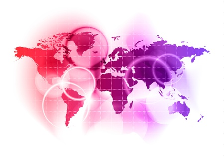 red and blue world on the white Stock Vector - 9663582
