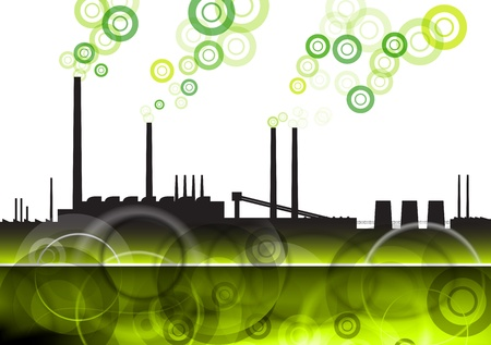 green factory with eco smoke Vector