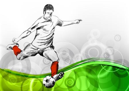 voetbal speler op de abstracte achtergrond Stock Illustratie