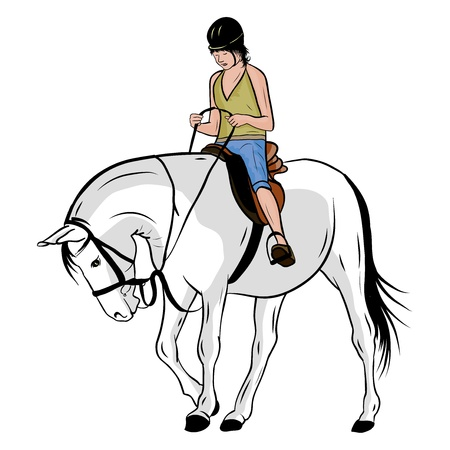 young girl on the horse Vector