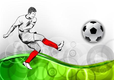 voetbal speler op de groene achtergrond Vector Illustratie