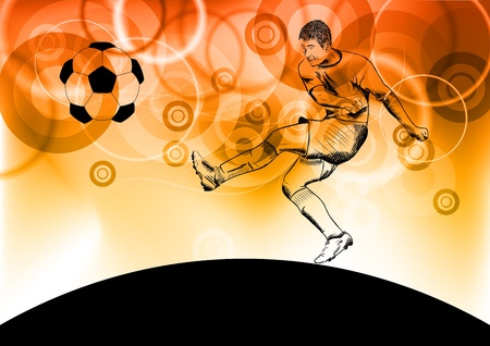 football player on the fire background Vector