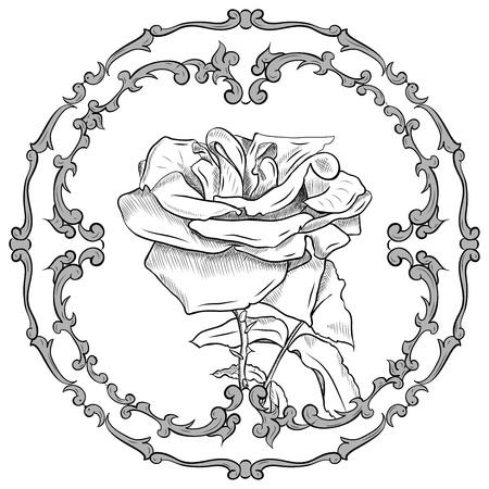 flower in the baroque frame Stock Vector - 9717863