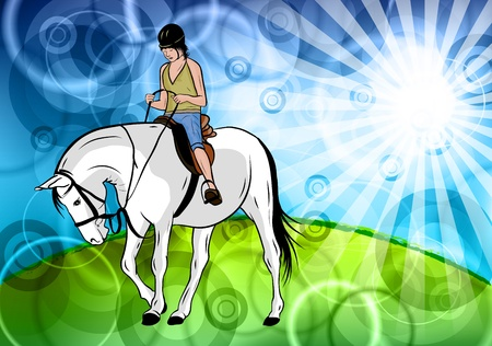 young girl with horse in the nature Vector