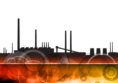black silhouette of factory on the red Vector