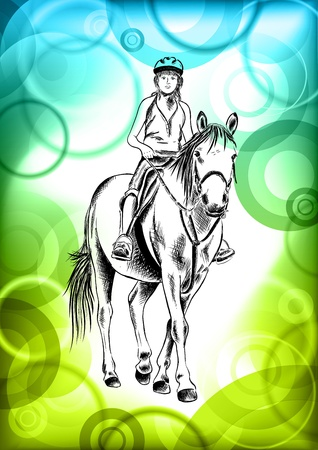 young girl on the horse Stock Vector - 9827615