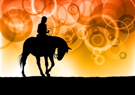black silhouette of horse riding Vector