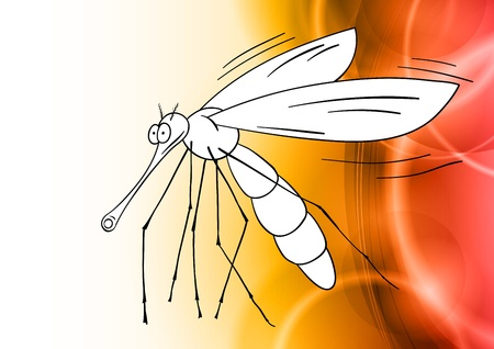 gnat on the red background Vector