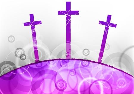 three cross on the purple hill Vector