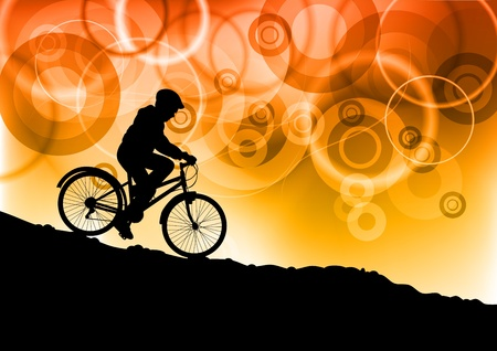 child on the bike by sunset Stock Vector - 9827626