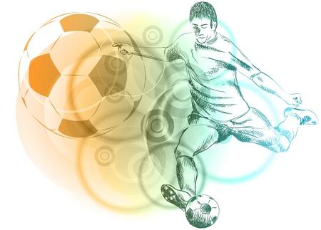 piłkarz na tle abstrakcyjna