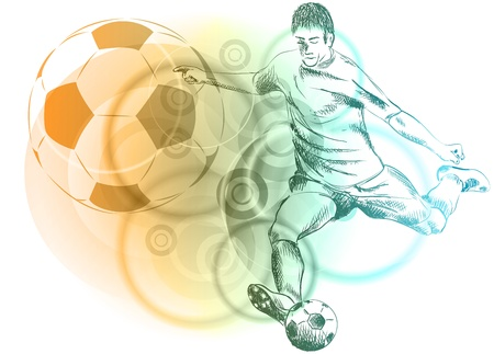 buiten sporten: voetbal speler op de abstracte achtergrond Stock Illustratie