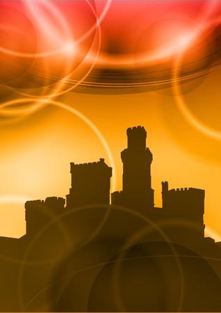 popular tale: castel under the red sunset Illustration