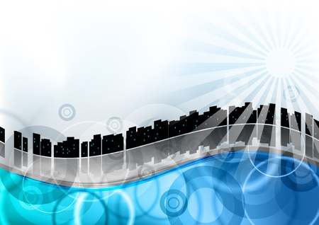 cityscape on the blue wave Stock Vector - 9827639