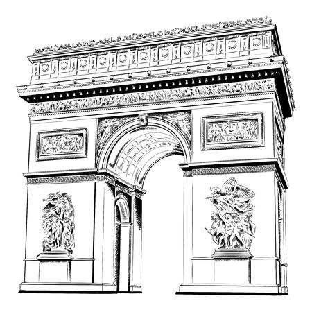 Arc de triomphe isolée sur le blanc Vecteurs