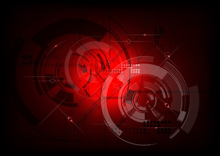 tech background in the red Stock Vector - 10292289