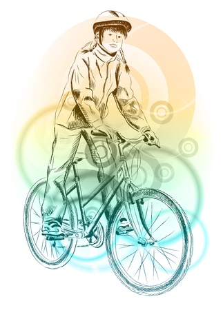cycle ride: girl on the bicycle on the background
