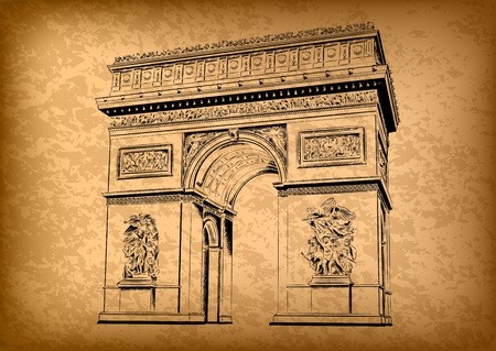 Arc de Triomphe: arch of triumph on the brown background