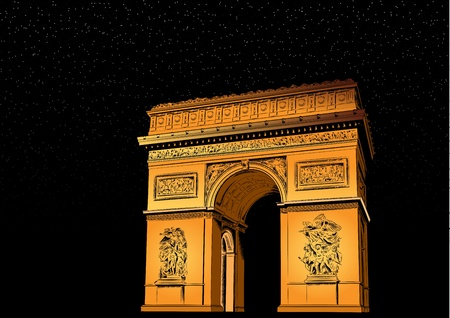 french culture: Arch of Triumph at night