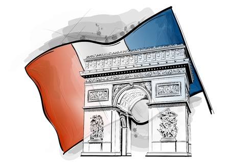 napoleon: arch of triumph on the flag Illustration