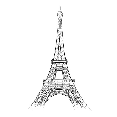 french style: eiffel tower on the white Illustration