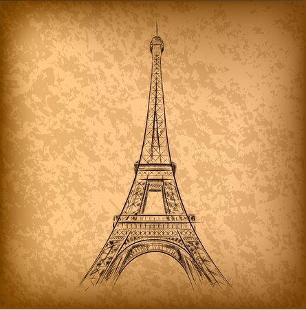 french culture: eiffel tower on the old paper