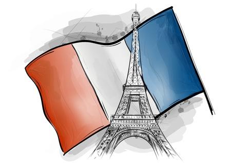 france flag: eiffel towe over the falg