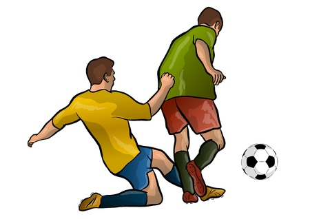 sporting activity: football players with the ball Illustration