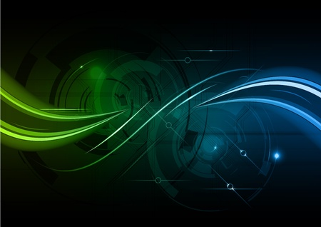 green and blue shiny wave Vector