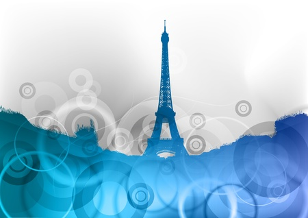 tower tall: eiffel tower on the blue abstract background