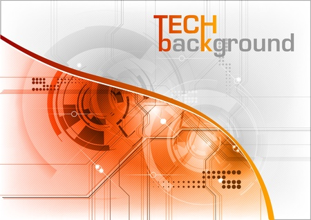 technical background with orange line Stock Vector - 10921093